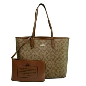 Coach Womens Large Double Strap Logo Printed Tote